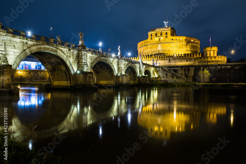 Fotografie, Obraz Castel Sant Angelo or Mausoleum of Hadrian in Rome Italy, built in ancient Rome, it is now the famous tourist attraction of Italy