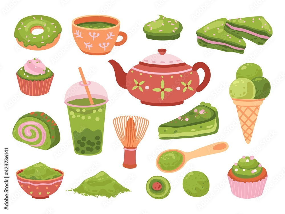 Fototapeta Matcha tea. Healthy dessert, isolated tasty iced latte. Organic green leaf asian beverage, smoothies, japanese culture meal exact vector set