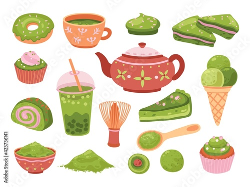 Matcha tea. Healthy dessert, isolated tasty iced latte. Organic green leaf asian beverage, smoothies, japanese culture meal exact vector set