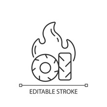 Burning Tires Linear Icon. Tire Fire Emissions Include Pollutants Such As Carbon Monoxide. Thin Line Customizable Illustration. Contour Symbol. Vector Isolated Outline Drawing. Editable Stroke