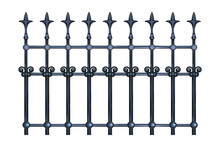 Decorative Cast Iron Wrought Fence With Artistic Forging Isolated On White Background. Metal Guardrail. Steel Modular Railing. Vintage Gate With Swirls. Black Forged Lattice Fence. Vector Illustration