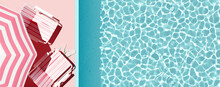 Top View Swimming Pool With Pink Beach Umbrella And Chairs. Summer Vacation Concept. 3d Rendering