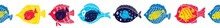 Vector Seamless Horizontal Border With Fish.