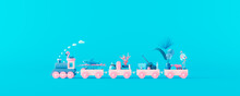 Blue Train And Pink Wagons Filled With Luggage And Beach Accessories On Pastel Blue Background. Creative Minimal Summer Concept Idea With Copy Space 3D Render 3D Illustration