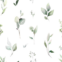 Seamless Pattern With Spring  Leaves, Herbs, Eucalyptus . Hand Drawn Background.   Green Pattern For Wallpaper Or Fabric.  Botanic Tile.