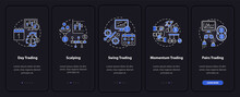 Trading Styles Onboarding Mobile App Page Screen With Concepts. Intraday, Swing Trade Walkthrough 5 Steps Graphic Instructions. UI, UX, GUI Vector Template With Linear Night Mode Illustrations
