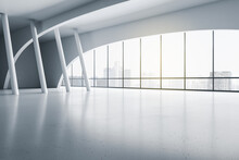 Modern Empty Exhibition Hall With White Columns On Glossy Floor And Sunny City View From Transparent Wall. 3D Rendering, Mockup
