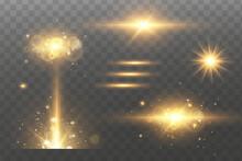 Shining Golden Stars. Light Effects, Glare, Bokeh, Glitter, Explosion, Golden Light. Vector Illustration.