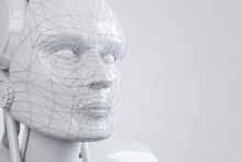 Robotics Concept With Stylish White Robot Head Dummy On Light Blank Backdrop. 3D Rendering, Mock Up