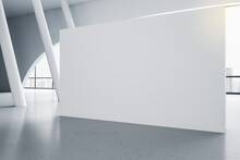 Sunny Room With Big Blank White Poster On Concrete Floor And White Decorative Columns. 3D Rendering, Mockup