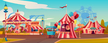 Entertainment Playground In Family Amusement Park, Carnival Circus Tent, Carousels Rollercoaster On Background. Vector Ferris Wheel, Candy Cotton Booth, Shooting Gallery, Arrows Pointers, Ticketsbox