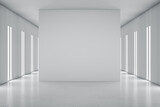 Blank grey partition in the center on modern empty hall with glossy floor and led lights on walls. 3D rendering, mockup