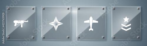 Set Military rank, Jet fighter, Japanese ninja shuriken and Submachine gun M3. Square glass panels. Vector