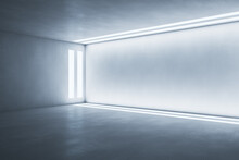 Side View On Light Wall Framed By Led Lights In Modern Empty Room With Concrete Floor. 3D Rendering, Mock Up