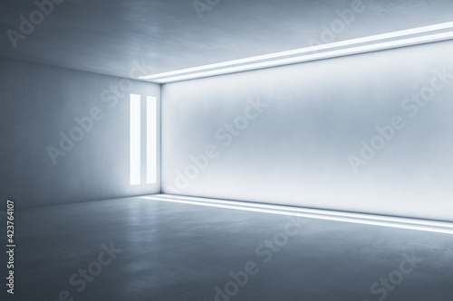 Vászonkép Side view on light wall framed by led lights in modern empty room with concrete floor