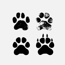 Tiger, Dog Or Cat Set Paw Print Flat Icon For Animal Apps And Websites. Collection Of Template For Your Graphic Design. Vector Illustration. Isolated On White Background.