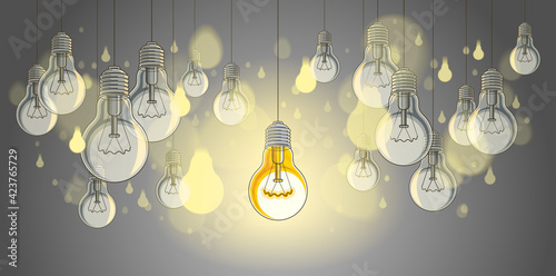 Idea concept light bulbs vector illustration with single one is shining, think different, creativity, be special, leadership.