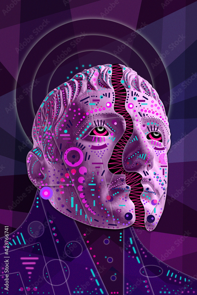 Fototapeta Collage with sculpture of human face in a pop art style. Modern creative concept image with ancient statue head. Zine culture. Contemporary art poster. Funky punk minimalism. Crypto art design.