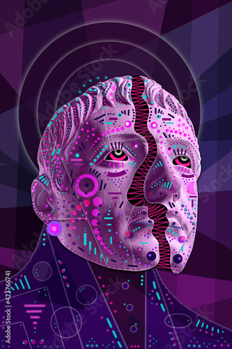 Obraz Collage with sculpture of human face in a pop art style. Modern creative concept image with ancient statue head. Zine culture. Contemporary art poster. Funky punk minimalism. Crypto art design. - fototapety do salonu