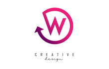 Pink W Letter Logo Design With Circle Frame And Arrow.