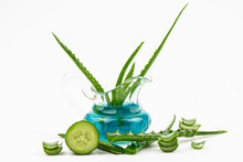 Curative Mask From Leaves Aloe, Cucumber ,  Aloe Isolated On A White Background.