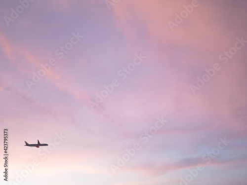 sunset with pink sky and airplane silhouette.  - fototapety na wymiar