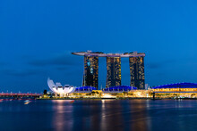 Marina Bay Sands Singapore's New Landmark And The Surrounding Complex At Night.