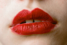 Lips Painted With Red Lipstick Close Up