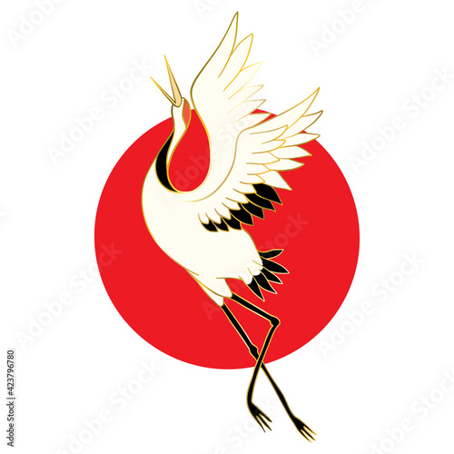 Fototapeta premium Japanese crane bird isolate on a white background.