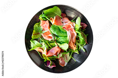 Obraz na plátně salad jamon prosciutto green leaves mix lettuce olives vegetables meat snack hea