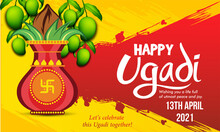Greeting Card With Kalash And Traditional Celebration  Indian New Year Festival Ugadi (Gudi Padwa). Vector Illustration.