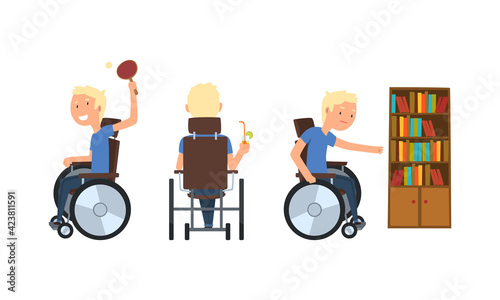 Fotografia, Obraz Blond Man with Disability in Wheelchair Playing Table Tennis and Drinking Cockta
