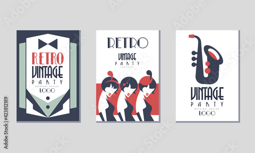 Canvas Retro Party Invitation Cards with Dinner Jacket and Saxophone Vector Set
