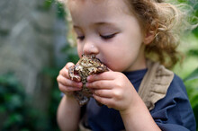 Close Up Portrait Of Small Girl Holding A Frog Outdoors In Summer, Kissing It.