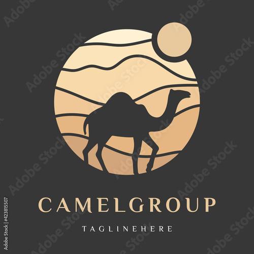 Leinwand Poster Arabian Logo Camel in desert dunes on beige color gold sand under hot sun in circle wavy pattern background
