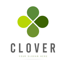 Abstract Green Clover Logo Four Leaves Heart Shape,icon Irish Shamrock Luck,sign Ecological Business Company,symbol Nature Eco.Graphic Design Template.Simple Clean Vector Logotyp Isolated Illustration