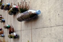 Upcycled Plastic Bottles With Colorful Caps Transformed Into Do It Yourself Or Hand Made Vertical Garden Fixed With Strings On A Concrete Wall. The Garden Is Minimalist And Suitable For Urban Spaces.