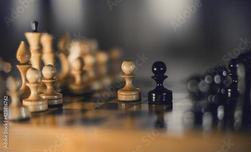 Obraz na plátne Two pawns - black and white
