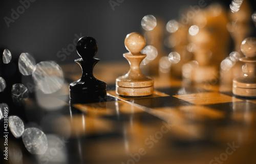 Fotografia, Obraz Two pawns - black and white