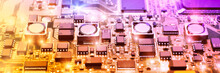 Closeup On Electronic Board In Hardware Repair Shop, Blurred And