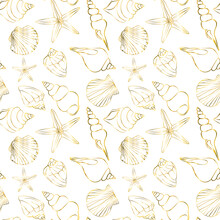 Seamless Pattern On A White Background With Gold Starfish And Seashells.