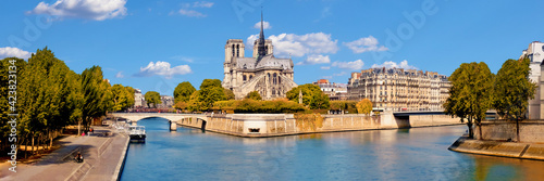 Leinwand Poster Paris, river Seine with Notre-Dame cathedral from the back on a