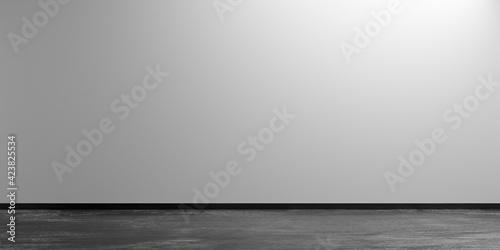 Fototapeta Grey empty, modern, abstract studio room with rough concrete floor, product display presentation template mock-up obraz