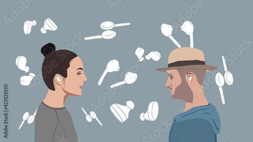 Obraz people discussing headphones - fototapety do salonu