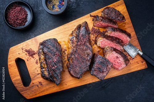 Modern style barbecue dry aged wagyu Brazilian picanha steaks from the sirloin c Wallpaper Mural