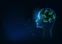 Futuristic Recycling Concept With Glowing Low Polygonal Human Head And Rercycle Sign
