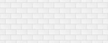 Subway Tile Background. White Seamless Patter For Kitchen Backsplash, Bathroom Wall, Shower. Ceramic Vector Texture