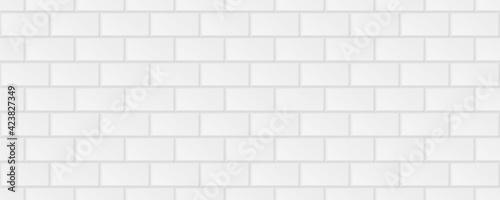 Fototapeta subway tile background. white seamless patter for kitchen backsplash, bathroom wall, shower. ceramic vector texture obraz