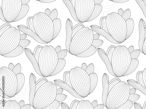 Obraz Picture Drawn black and white tulip with a contour line. Seamless pattern horizontally and vertically - fototapety do salonu