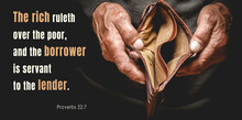 Christian Bible Verses Proverbs 22: 7, Elderly Senior Holding An Empty Wallet In Old Hands